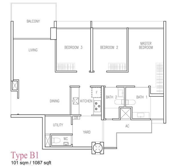 wandervale ec floor plan 3-bedroom Premium