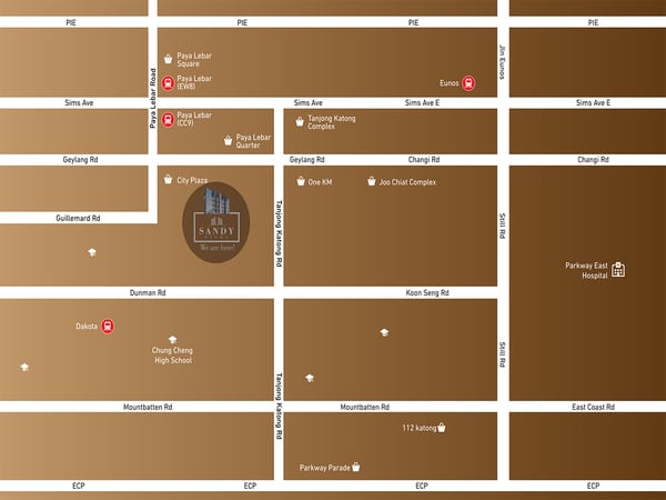 sandy eight location map