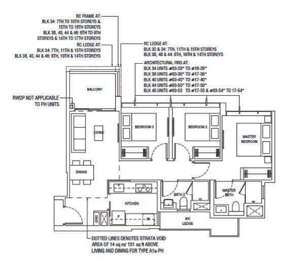 PIERMONT GRAND EC 3 Bedroom Type A1 Floor Plan