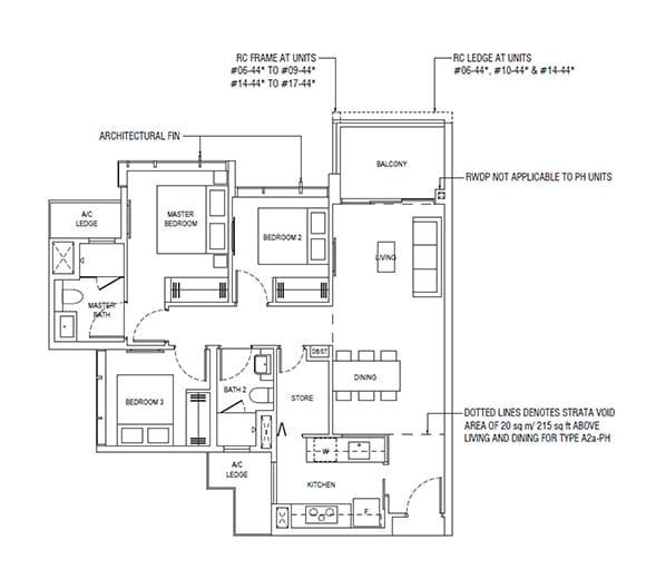 Piermont Grand 3 Bedroom Floor Plan Type A2