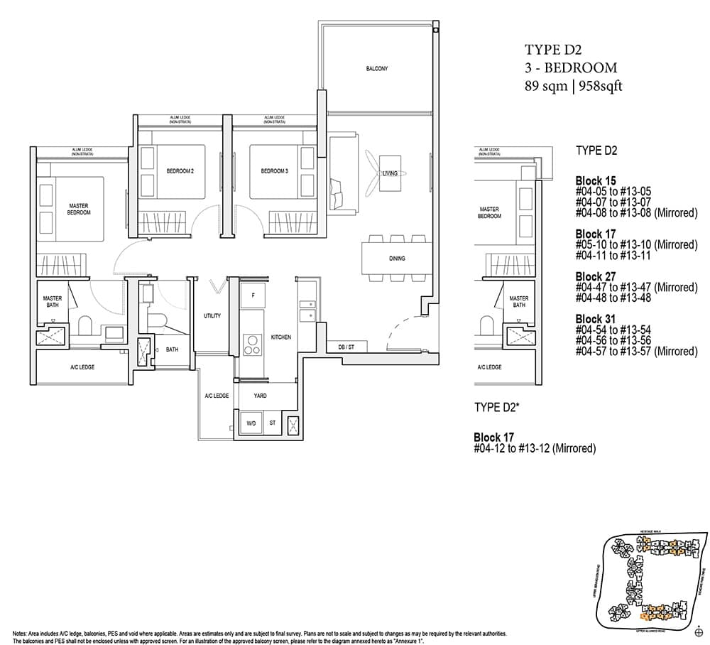 3-bedroom d2 type floor plan