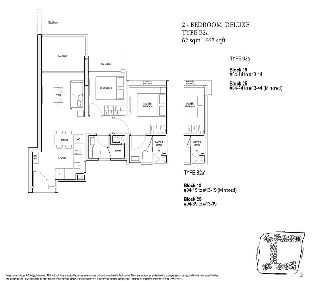the woodleigh residences 2 bedroom floor plan