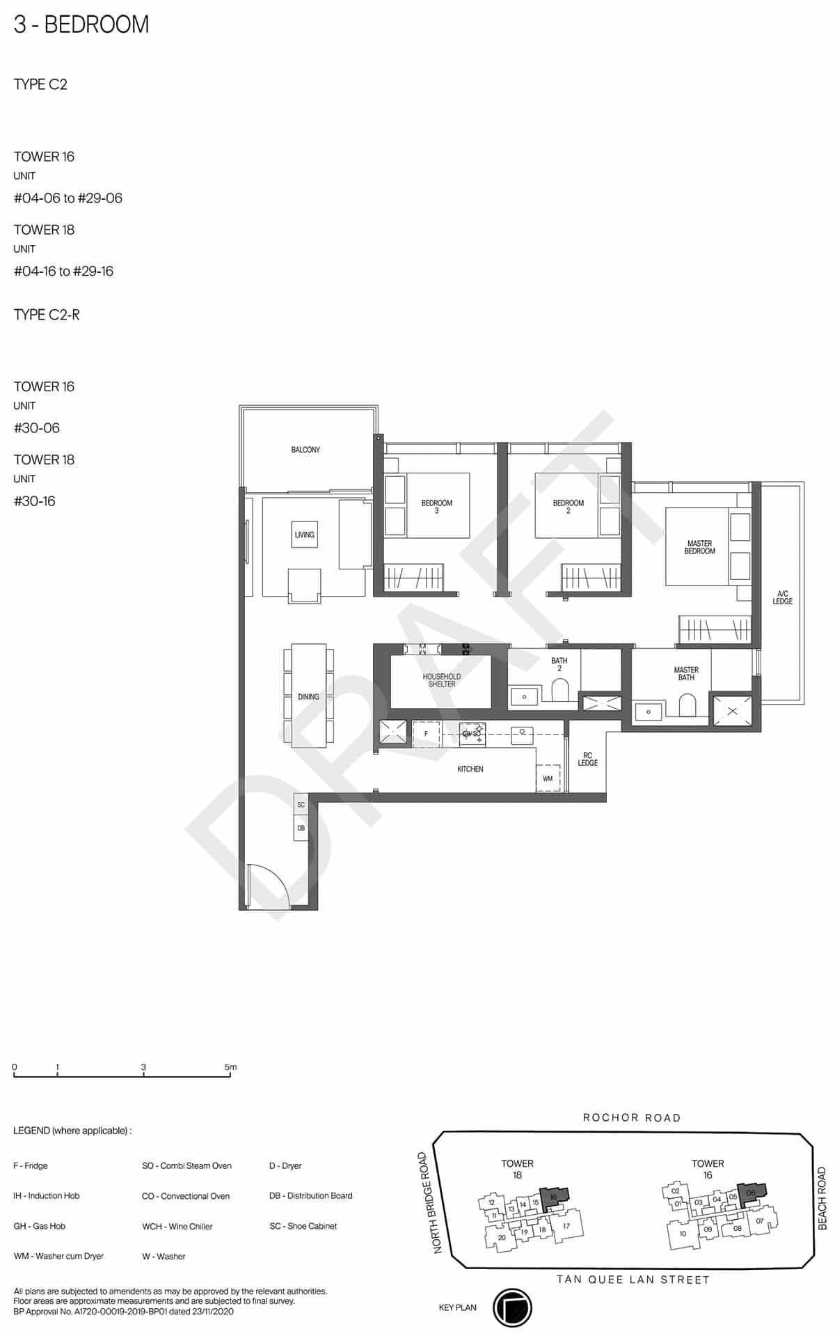 Midtown Modern Floor Plan 3 Bedroom Draft